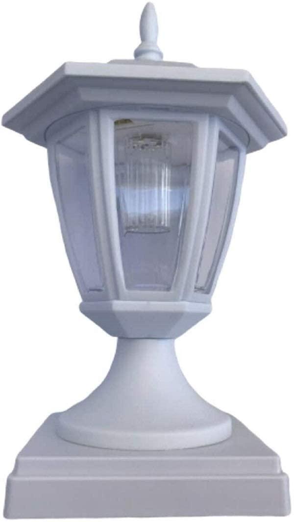 6 Packs Solar Hexagon Cap SMD White LED Light for PVC & Wood Post Black or White Color (White, 6x6)