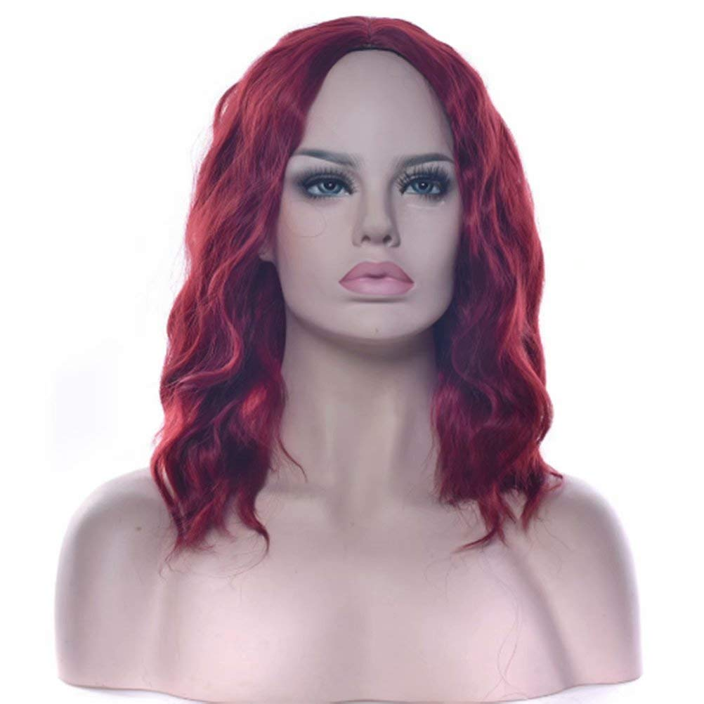 iLUU Shoulder Length Straight Lace Front Wigs Middle Length Bob Style Women Heat Resistant Wine Red Fashion Color Pre Plucked Synthetic Wig 16 Inches 170 Grams (Wine Red)