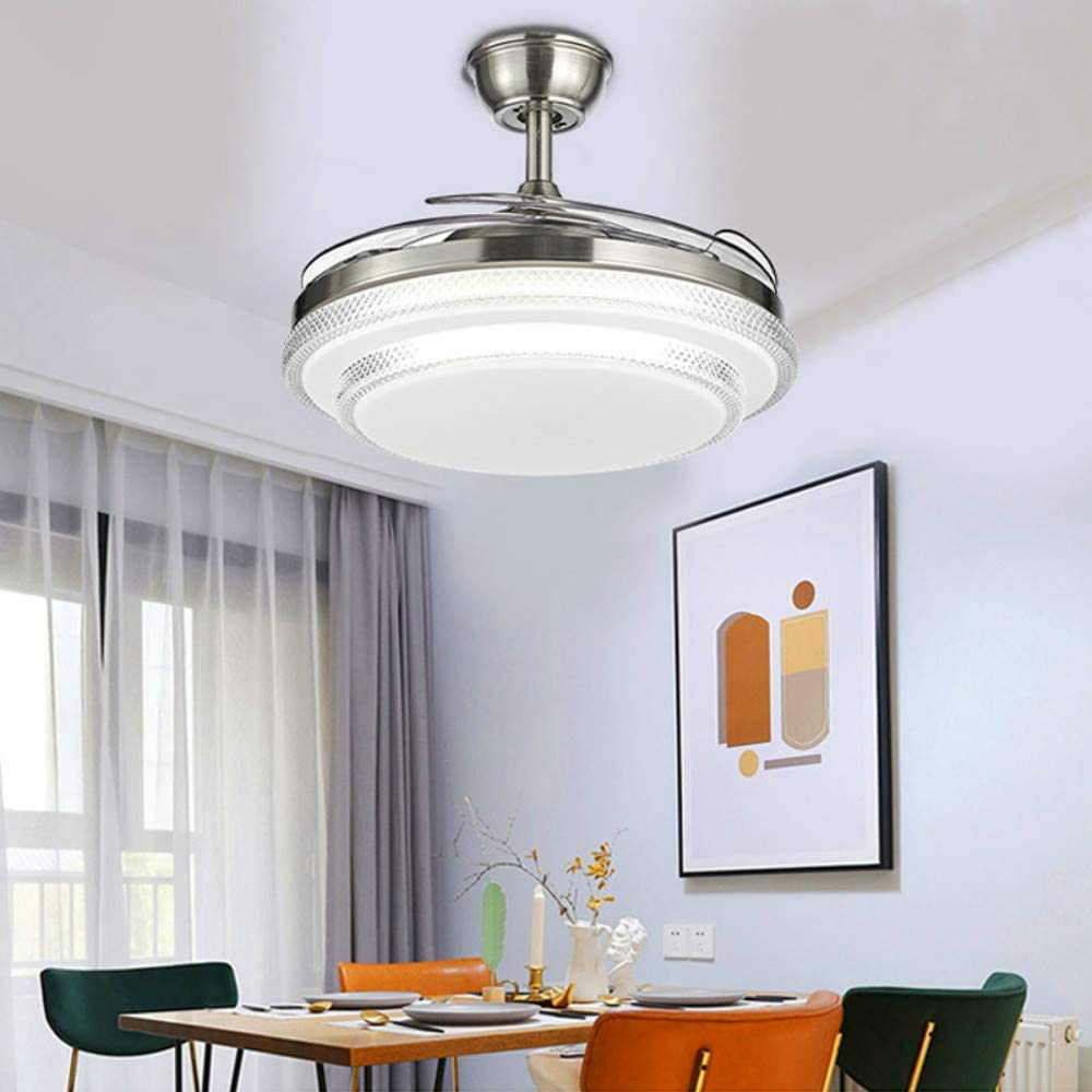 Lighting Groups Invisible Ceiling Fan Light 42 Inch Led Modern Ceiling Fan with 3 Light Color and 3 Fan Speed Bedroom Living Room Silent Indoor Ceiling Fan Chandelier (Silver)