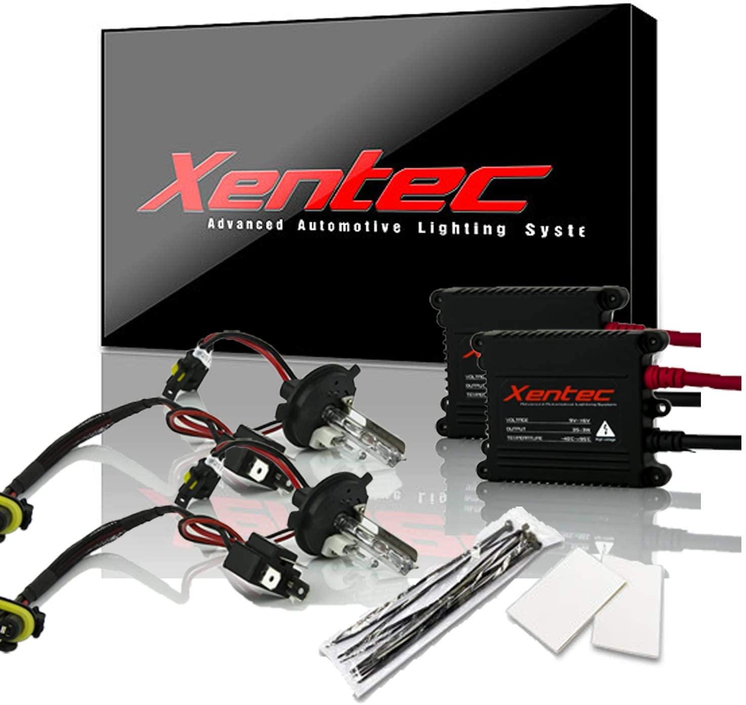 Xentec H4 (HB2) 6000K Hi/Lo HID xenon bulb x 1 pair bundle with 2 x 35W Digital Slim Ballast (Ultra White, high beam halogen)