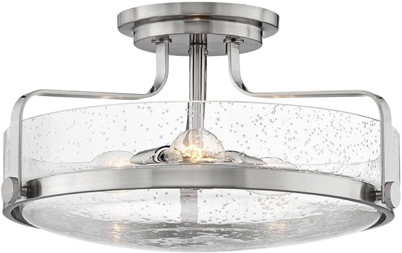 Hinkley 3643BN-CS Harper - 18 Three Light Semi-Flush Mount, Brushed Nickel Finish with Clear Seedy Glass