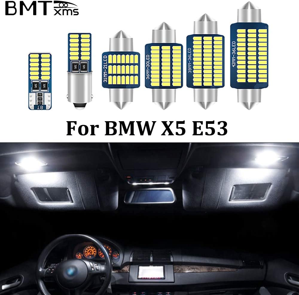 BMTxms Canbus Interior LED Lamps Xenon White Car Lights Bulbs Map Dome License Plate Light Lamp Error Free for BMW X5 E53 3.0i,4.4i,4.6is,4.8is 2000-2006 (X5 E53,Pack of 23)