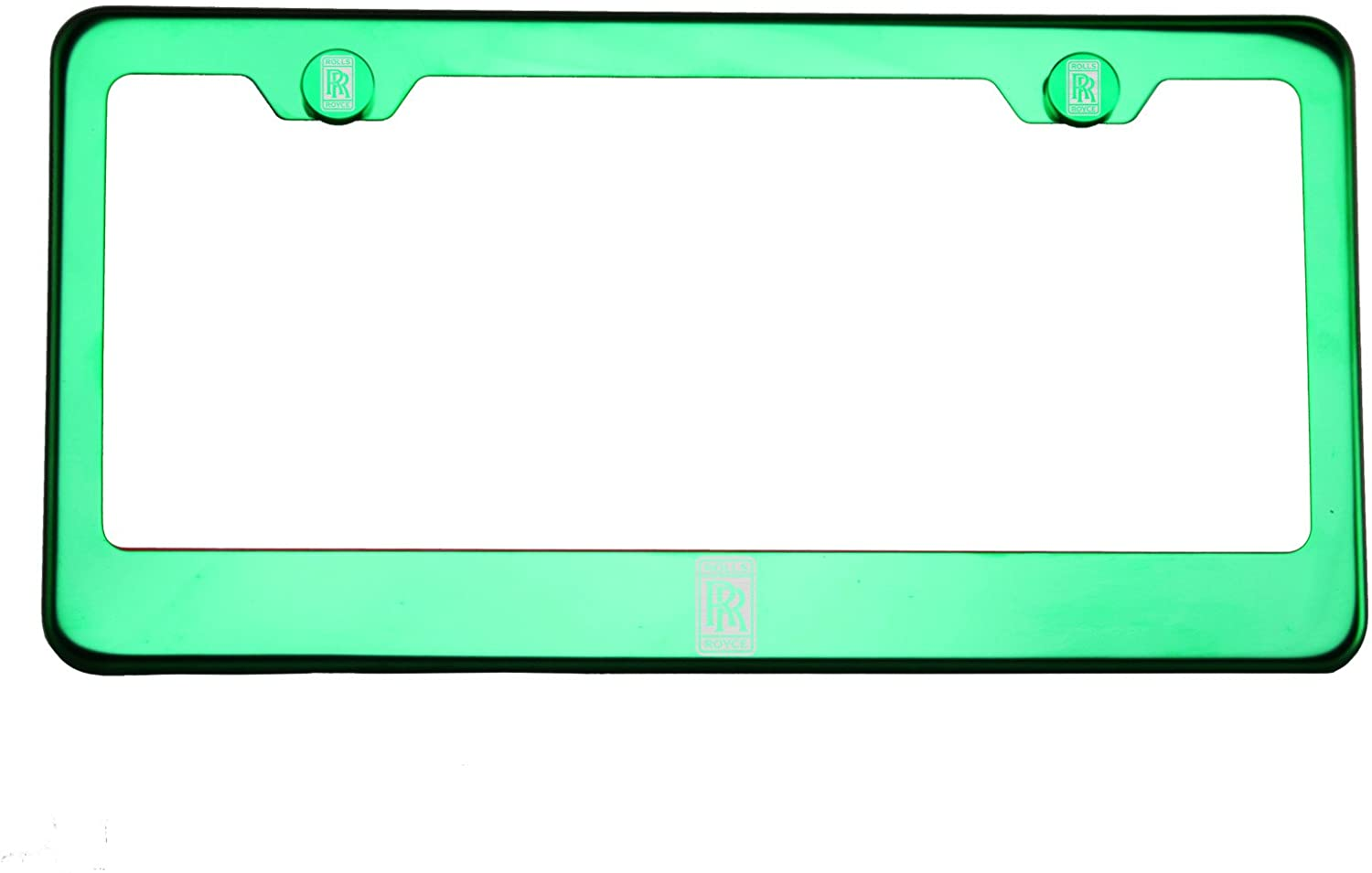One Fit Rolls Royce Logo on Green Chrome Stainless Steel License Plate Frame Holder Front Or Rear Bracket Laser Engrave Aluminum Screw Cap
