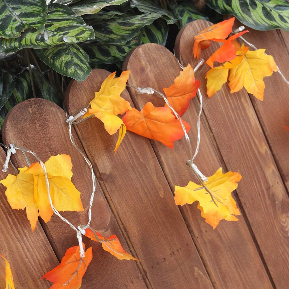 Uonlytech 1pc 10 LED Autumn Leaf String Lights Battery Operated LED Lights Fairy Lights for Halloween Christmas Thanksgiving Decoration