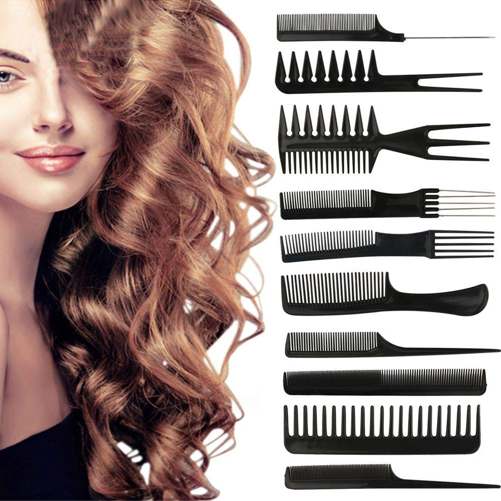 10pcs/Set Professional Styling Comb Set, Tail Comb Hair Brush with Metal Prong, Comb Salon Barber Anti-static Hair Combs Hairbrush Hairdressing Combs Hair Care Styling Tools