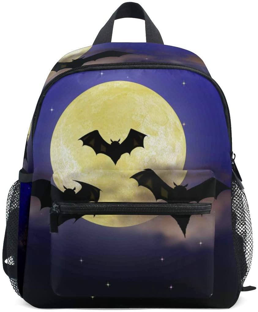 Moon And Black Bats Toddler Backpack Kindergarten Preschool Kids Bag