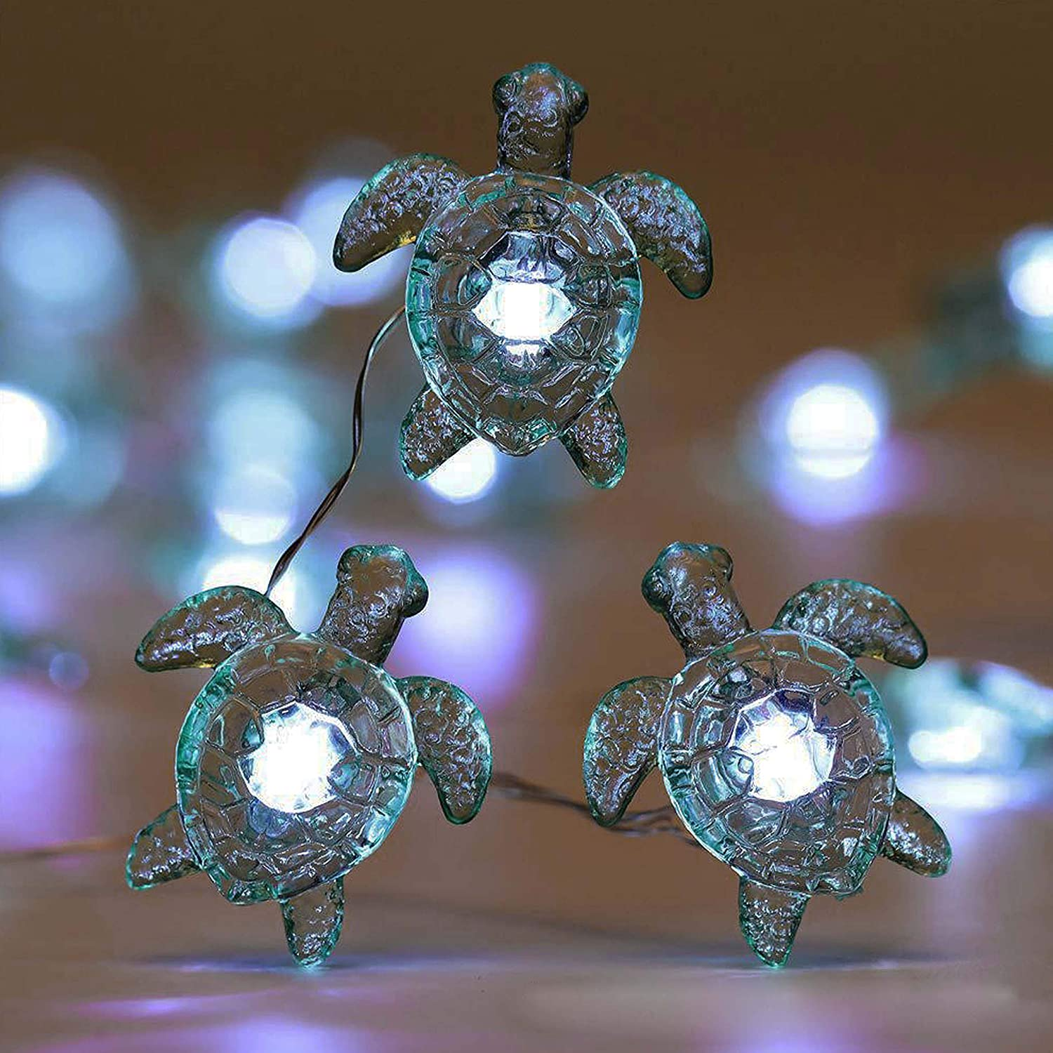 Decorman Sea Turtle Decorative String Lights, 14ft 40 LED 8 Modes Cool White Weatherproof Battery Operated Ocean Theme Lights for Bedrooms Parties Weddings Gardens with Remote and Timer