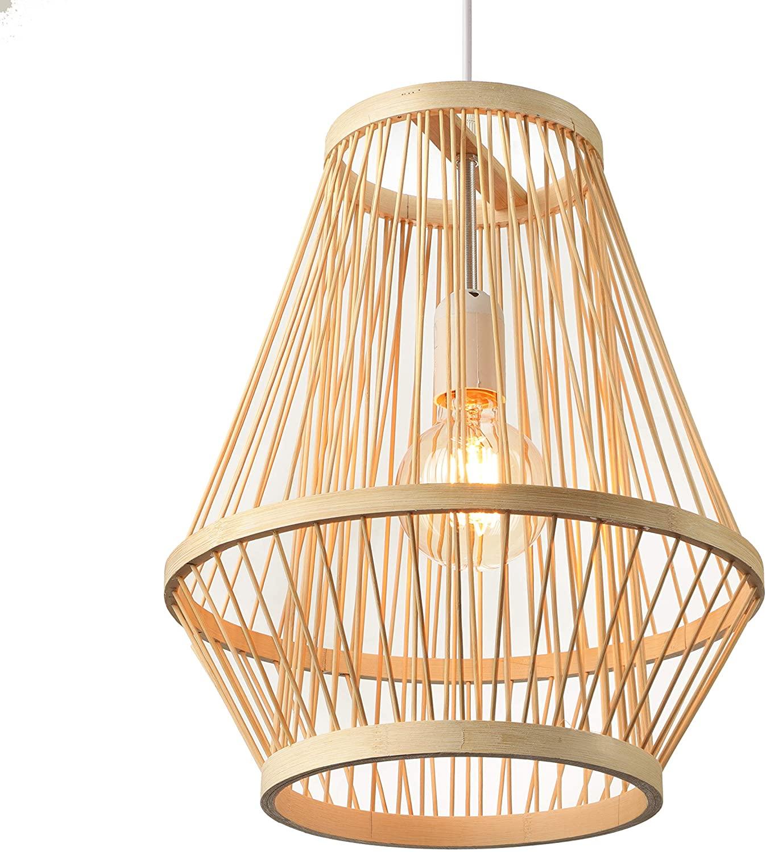 BAYCHEER Retro Single Light Pendant Light Corridor Bamboo Lantern Ceiling Light Pendants Fixture Hanging Lighting with Shape Rattan for Teahouse Dining Room in Beige