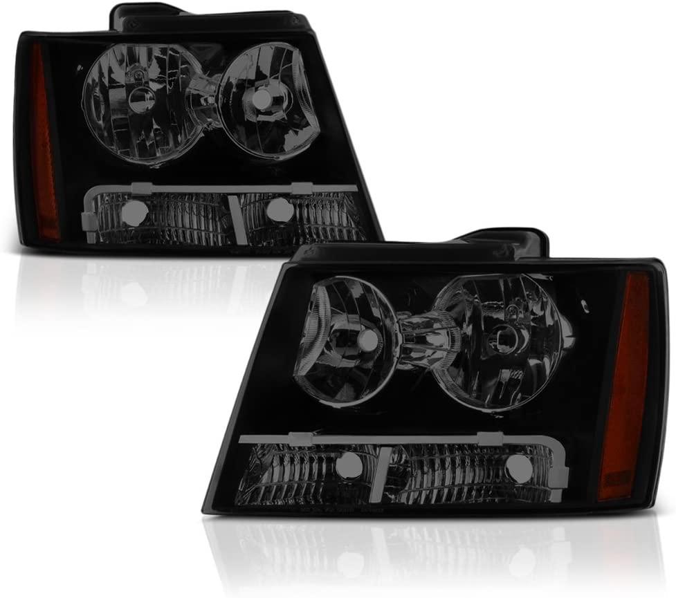 VIPMOTOZ Black Smoke OE-Style Headlight Headlamp Assembly For 2007-2014 Chevy Avalanche Tahoe Suburban 1500 2500, Driver & Passenger Side