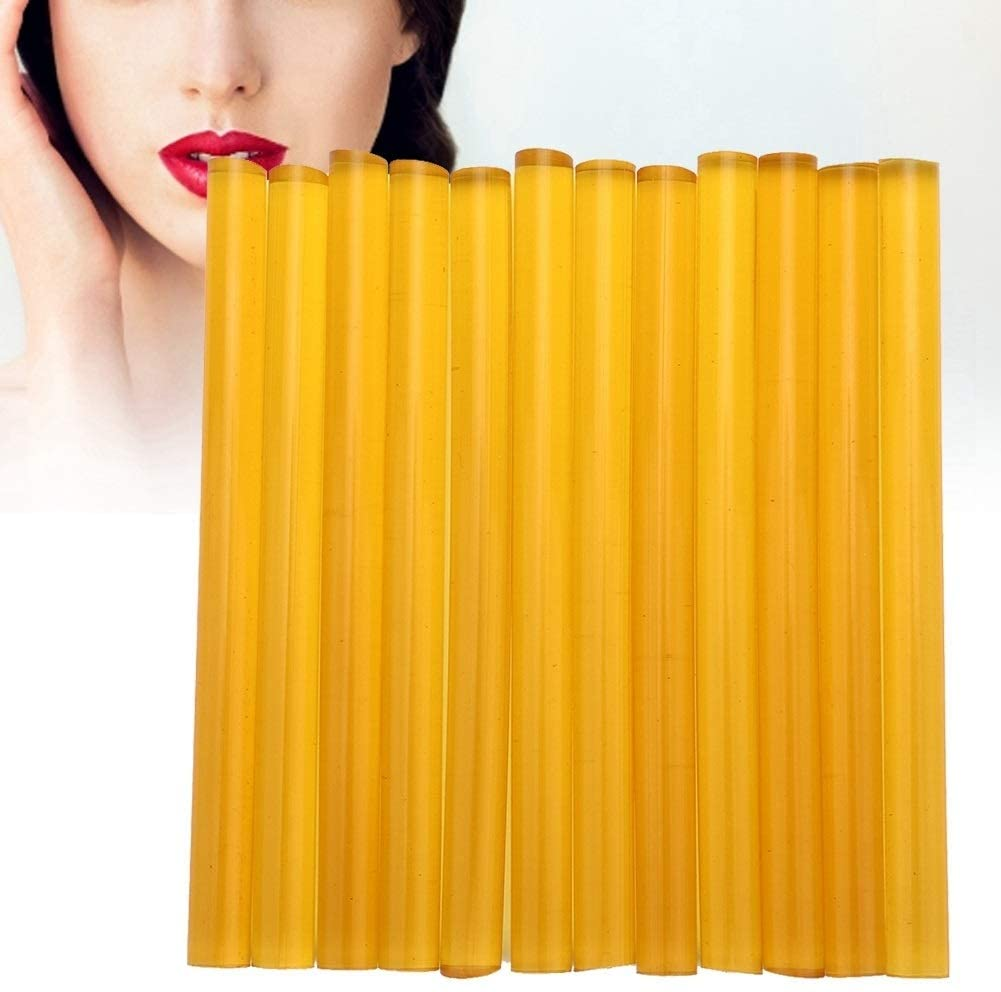 Rockyin 12Pcs Professional Wig Hair Extension Hot Melt Glue Adhesive Sticks Hair Styling Tool Yellow