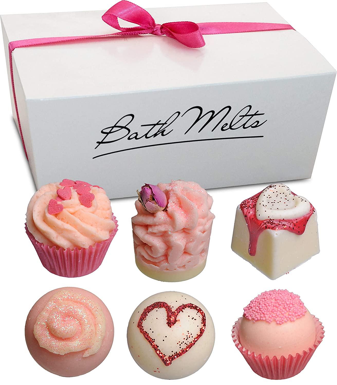 BRUBAKER 6 Handmade XOXO Hugs & Kisses Bath Melts Gift Set - All Natural Vegan, Organic Shea Butter, Cocoa Butter and Olive Oil Moisturize Dry Skin
