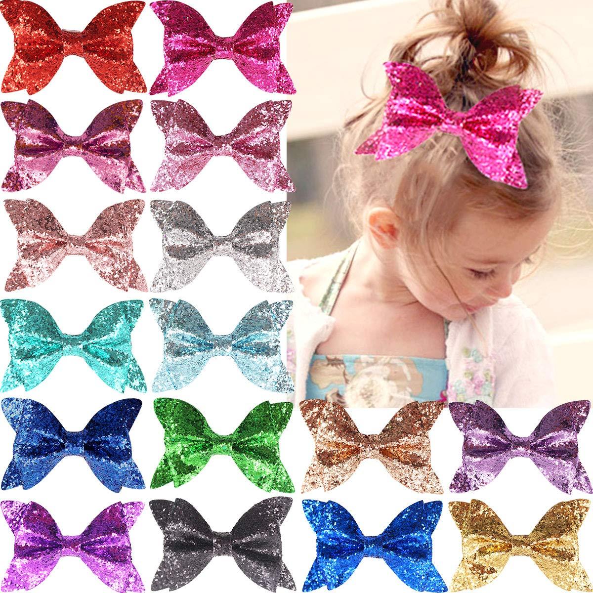 15 Pcs Baby Girls Hair Bows Clips Big Glitter Sequins 4