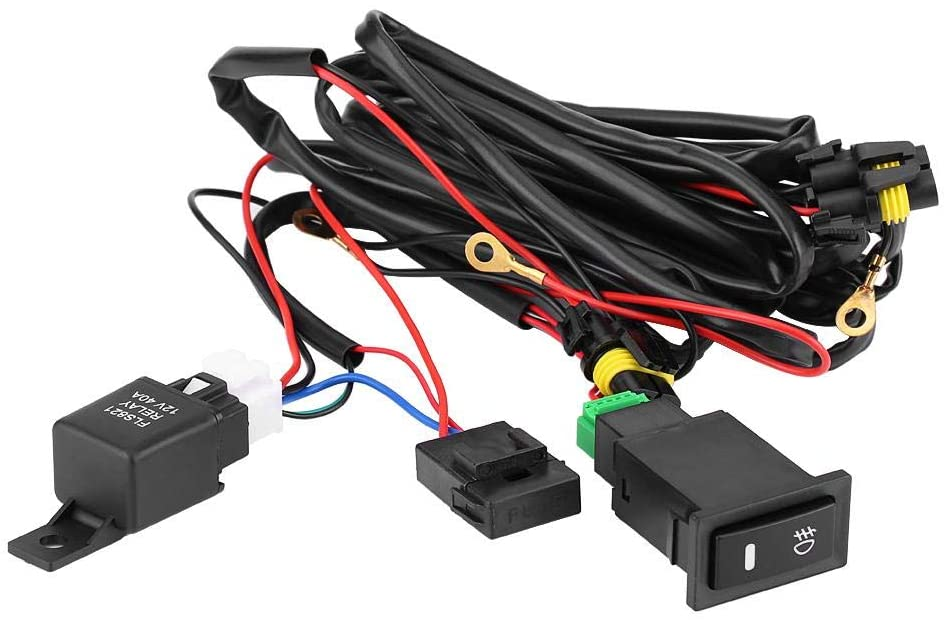On/Off Switch Wiring 12V Universal Wiring Harness Fuse Relay Kit for Car LED Fog Light