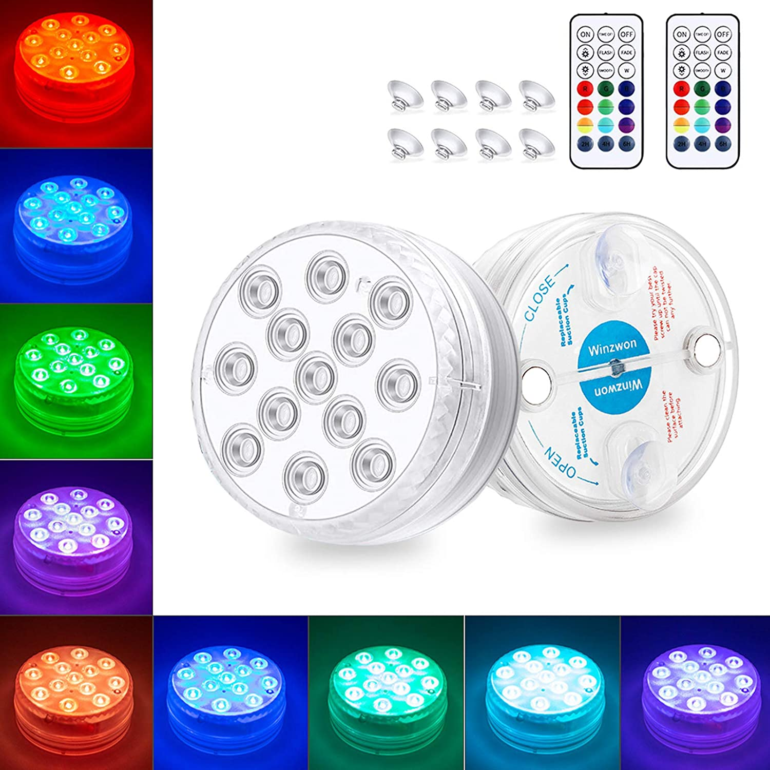Winzwon Submersible Led Lights 2 Pack with Remote, Magnet, Suction Cups, IP68 Waterproof 13 Led Pool Lights for Pond Fountain Vase Fish Tank Wedding Decoration Battery Operated (Not Included)