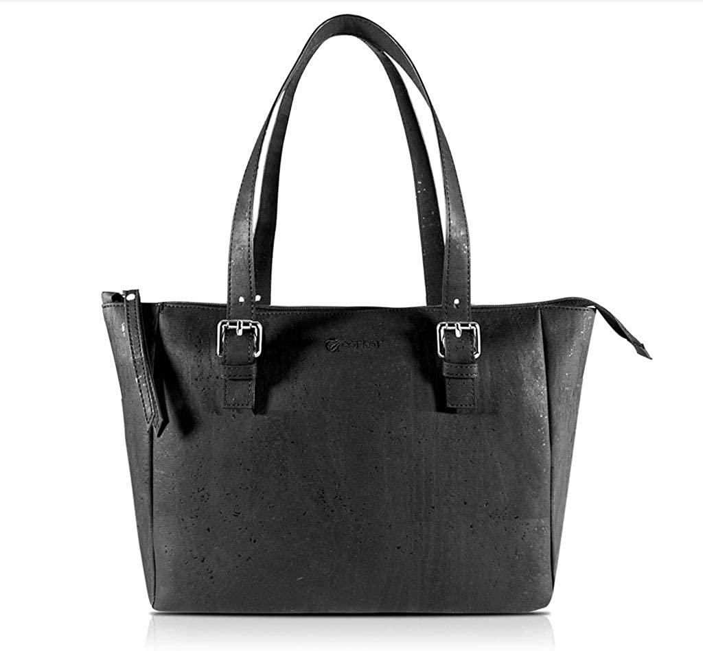 Corkor Cork Purse Vegan Handbag for Women | Cruelty Free Satchel Non Leather | Roomy Bag