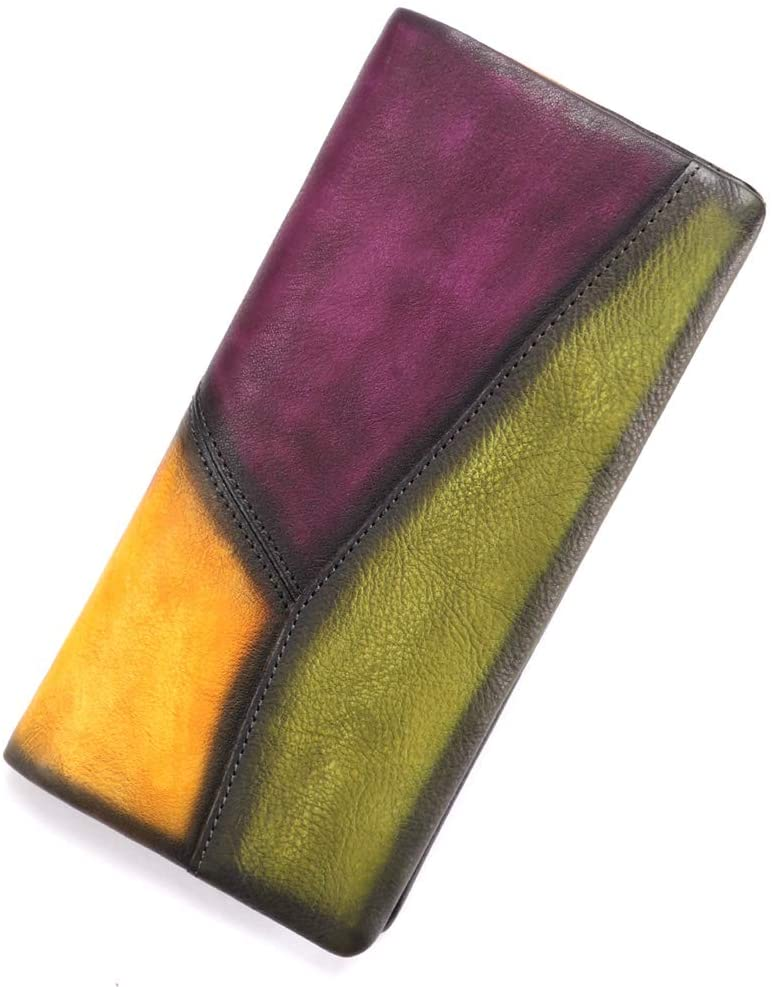 Slim Bifold Leather Wallets for Women Vintage Handmade Thin Purse Clutch (Multicolor1)
