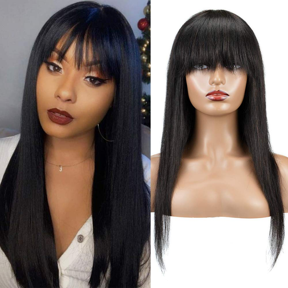 Huageer Brazilian Virgin Straight Human Hair Wigs with Bangs for Black Women None Lace Front Wigs 18Inch Short 130% Density Natural Black Color