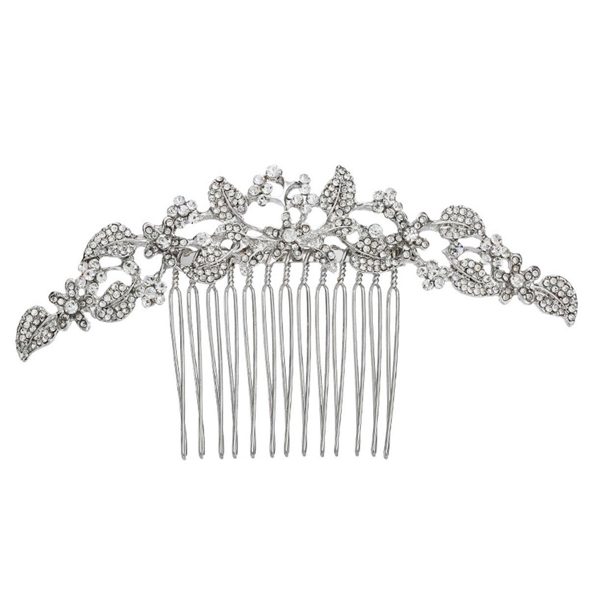 Frcolor Crystal Rhinestone Bridal Wedding Hair Combs Wedding or Prom Hair Comb Accessory (Silver)
