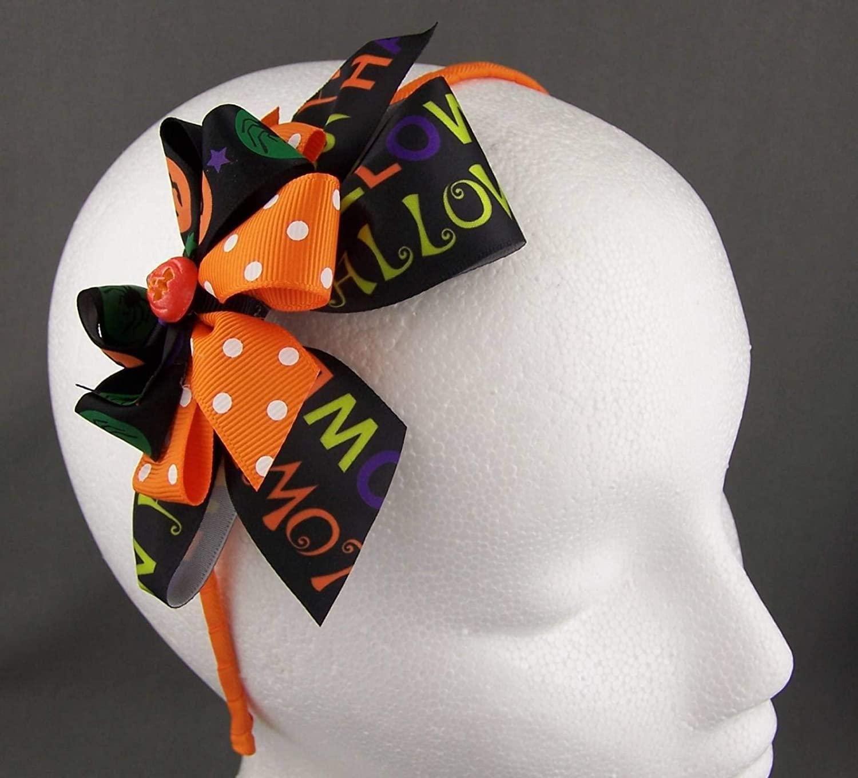Orange Black Halloween Bow Pumpkin Ribbon Wrapped Thin Skinny Headband Hair Band Headbands for Women
