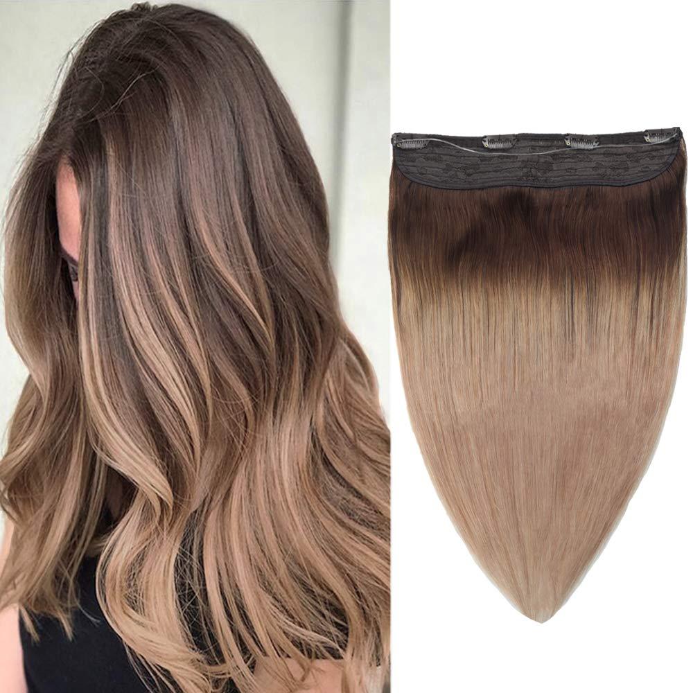 14 Halo Hair Extensions Human Hair Secret Wire One Piece Flip Human Hair Extension #4T18-65g Per Bag