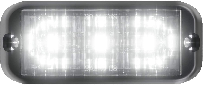 Abrams SAE Class-1 Edge Series (White) 9W - 3 LED Emergency Vehicle Truck LED Grille Light Head Surface Mount Strobe Warning Light