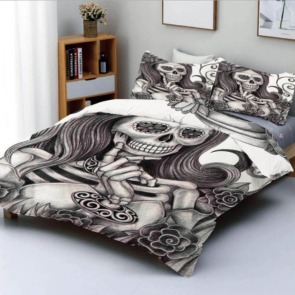 Duplex Print Duvet Cover Set Full Size,Sexy Skull Girl with Floral Veil Ceremony Day of The Dead Bride Skeleton Lady ArtDecorative 3 Piece Bedding Set with 2 Pillow Sham,Grey White,Best Gift for Kids