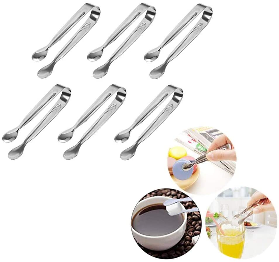 Huture 6 PCS Stainless Steel Mini Sugar Flatware Pastry Ice Tongs Pom Cube Pliers Candy Appetizers Serving Clip 11cm Dishwasher Safe Kitchen Tongs for Wedding Party BBQ Tea Coffee Bar Grill, Silver