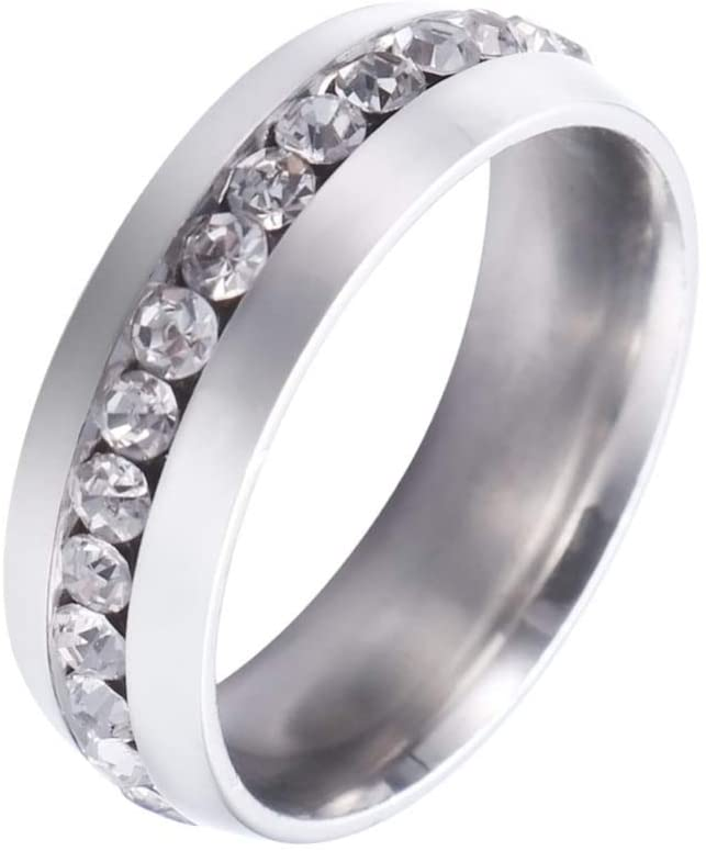 Holibanna Crystal Ring Silver Stainless Rings Jewelry Wedding Engagement Rings for Men Women(Silver)