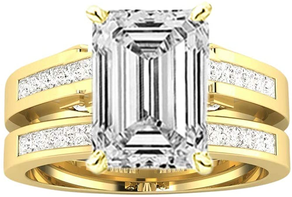 2.75 Ctw 14K White Gold Channel Set Princess Bridal Set Wedding Band and Matching GIA Certified Emerald Cut Diamond Engagement Ring (2 Ct Center D-E Color VS1-VS2 Clarity)