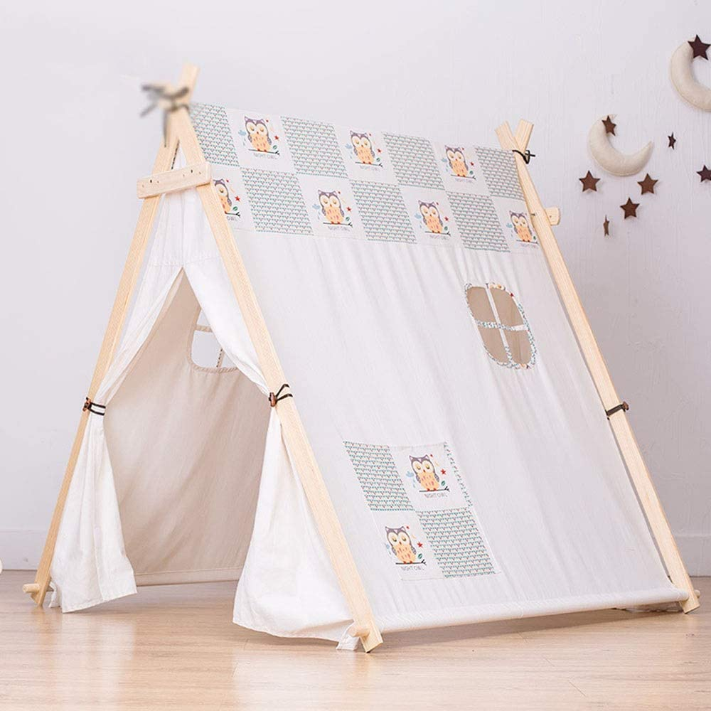 YADSHENG Children's Play Tent Canvas Teepee Children Playhouse Kids Play Tent for Indoor Or Outdoor Play Girls and Boys Childrens Play Tent for Kids Tent (Color : White, Size : 130x110x130cm)
