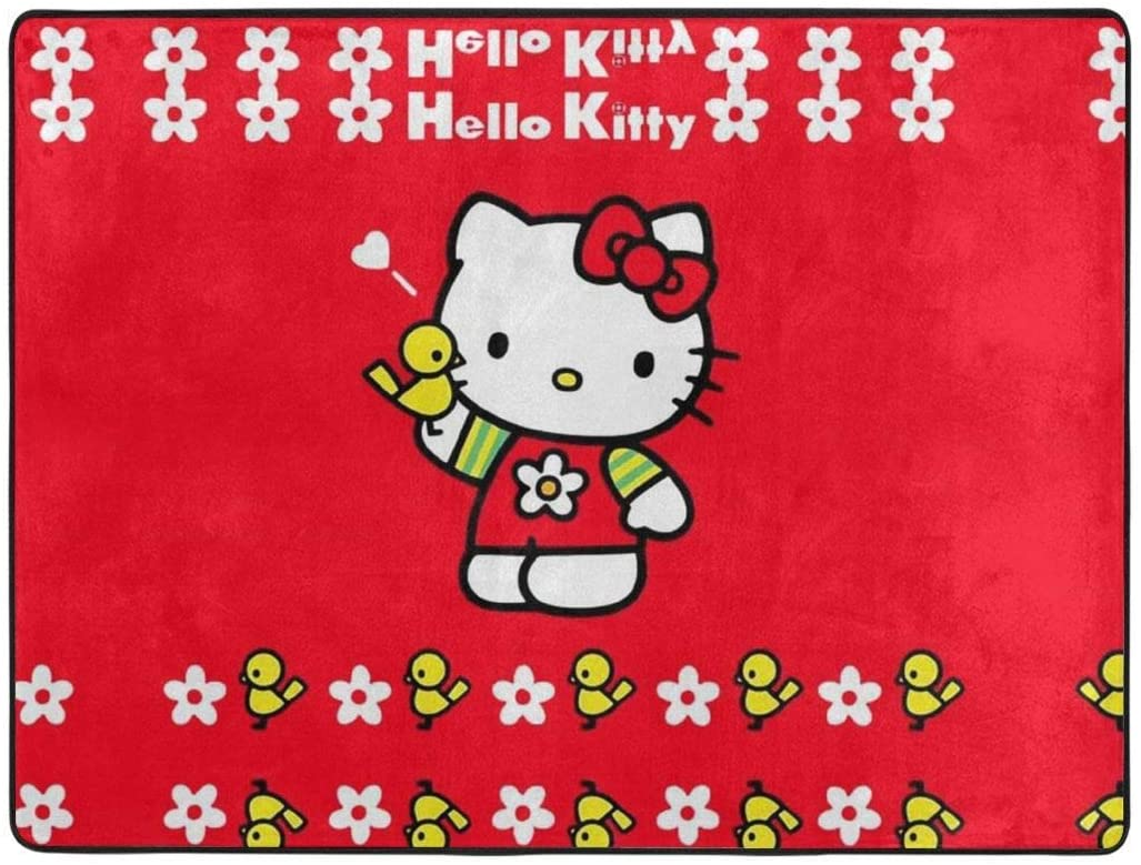 Red Hello Kitty Soft Area Rugs Bedroom Carpets for Living Room Bedroom Kids Room Girls Room Nursery Home Decor Carpet 63 X 48 Inches