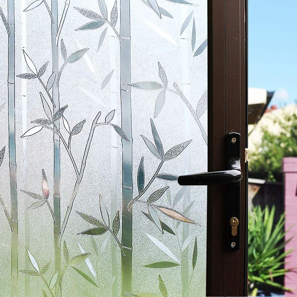 Mikomer Static Cling Window Film,Privacy Door Film,Decorative Glass Film,Bamboo Stained Glass Window Tint Anti UV for Home and Office Decoration,17.5 inches by 78.7 inches