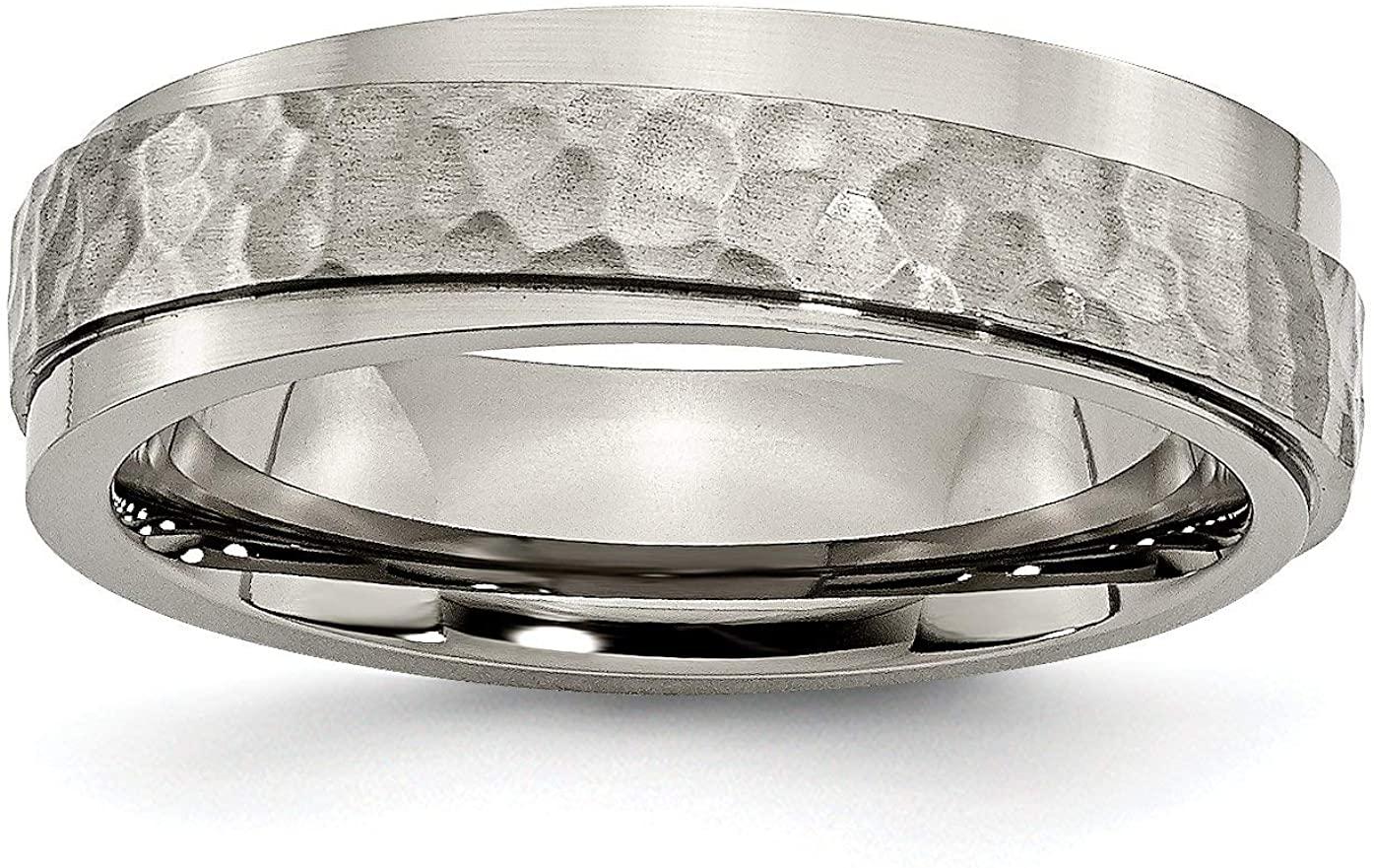 Titanium 6mm Ridged Edge Hammered and Polished Band   Wedding Band Ring   Titanium   Size 8