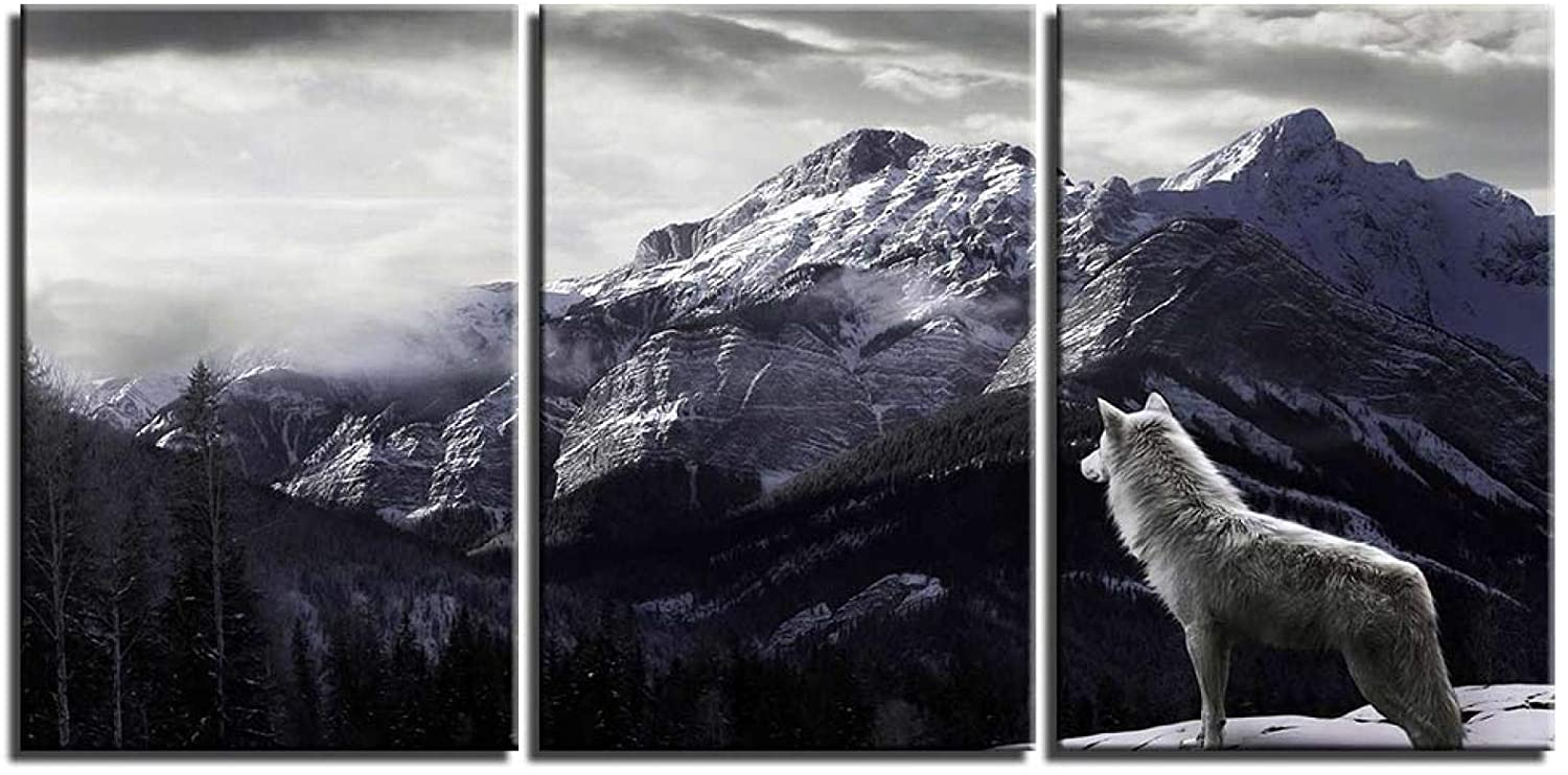 HYFBH 3 Pieces Modern Canvas Painting Snow Mountain Wolf Posters Canvas Printings Wall Pictures for Living Room Decor Artwork 40x60cm(16x24in) x3 Unframed