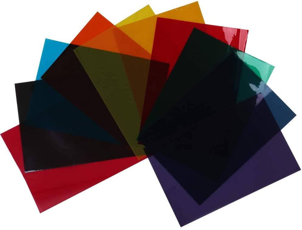 HOHOFILM 10Colors Bundle Pack Colorful Transparent Window Film Self Adheisve Glass Decoration Tint A4 Sample 21cmx29.7cm