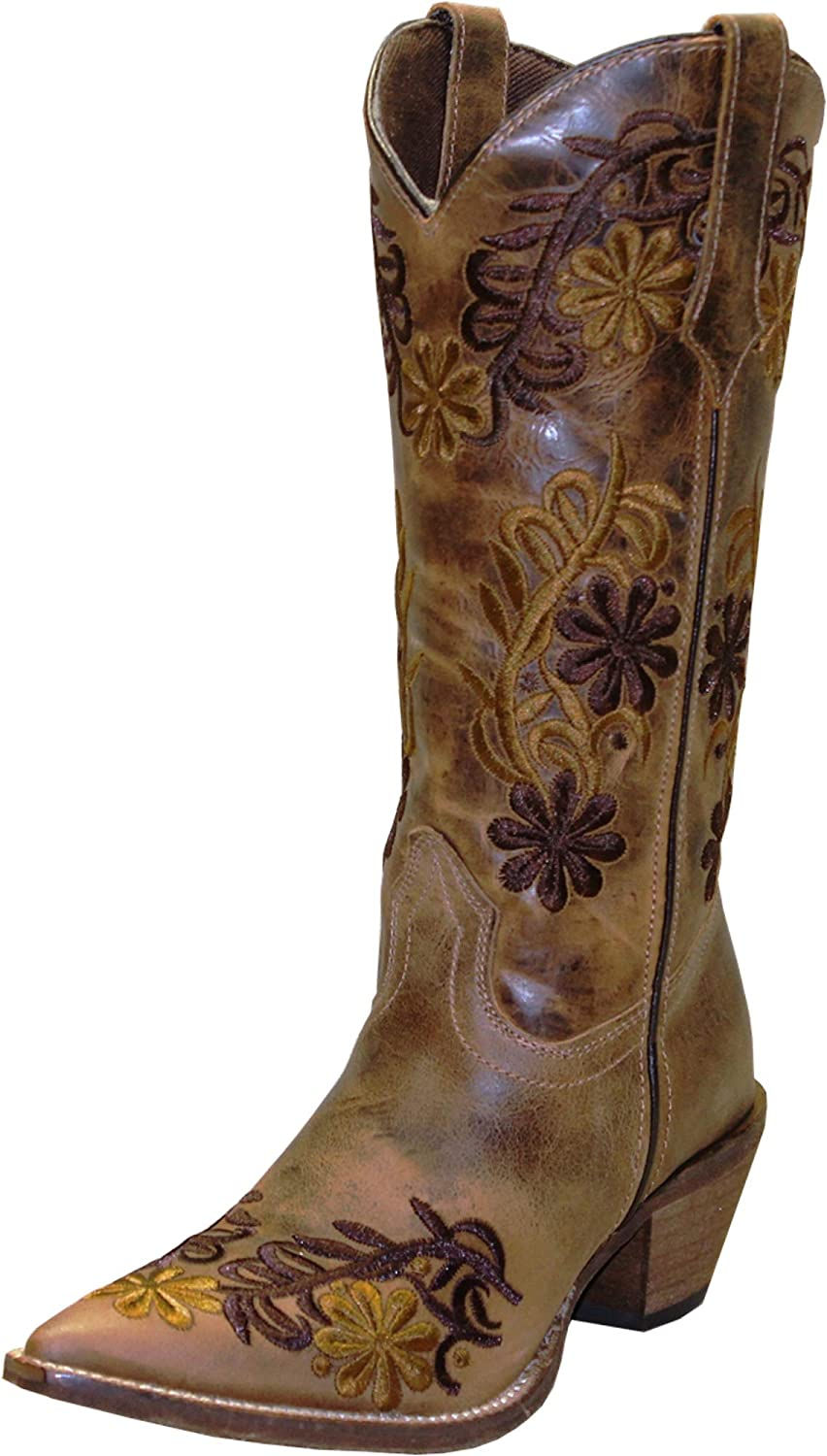 Abilene Women's Rawhide by Boot Floral Cowgirl Pointed Toe