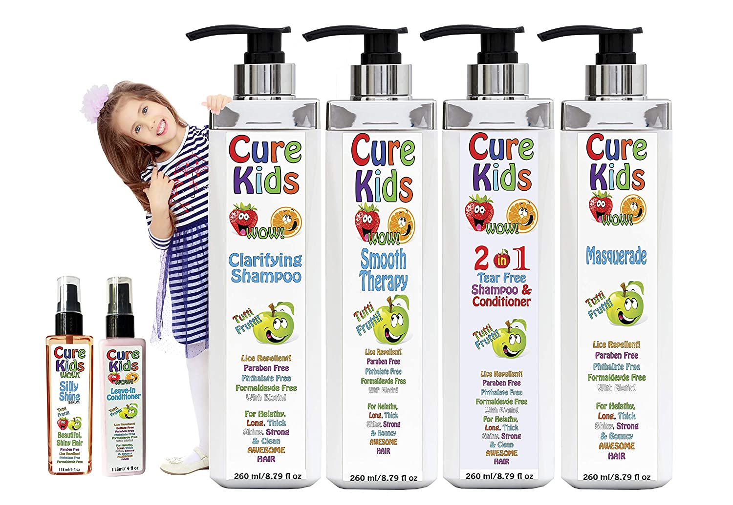 Cure Kids Smooth Therapy Silky Shiny Hair Straightening Treatment 6pc Full Kit kids. Safe, Paraben Free Lice Repellent. Swimmers Safe for all little ones children child baby babies hair (8 fl oz)