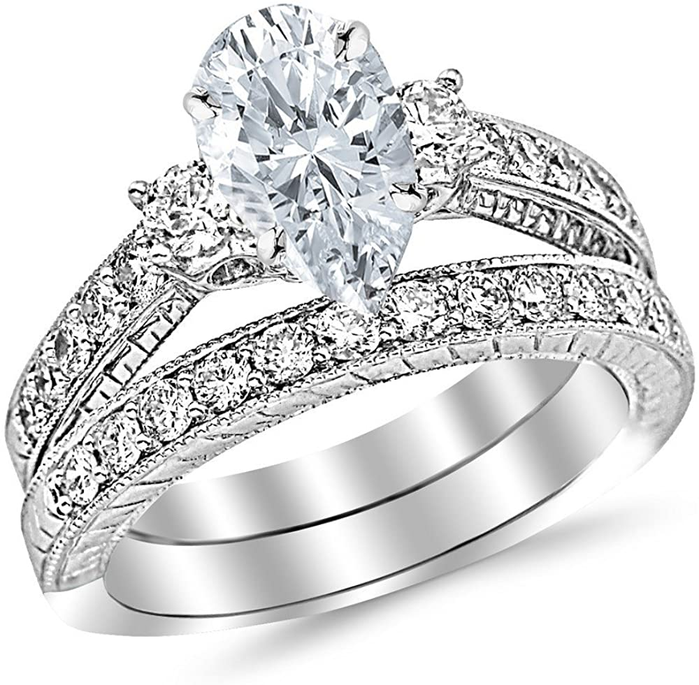 3 Ctw 14K White Gold Three Stone Vintage With Milgrain & Filigree Bridal Set with Wedding Band & GIA Certified Pear Cut Diamond Engagement Ring (2 Ct Center D-E Color VS1-VS2 Clarity)