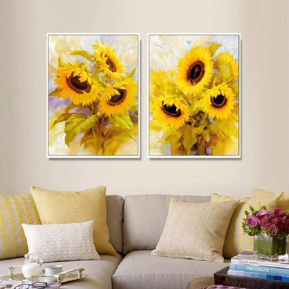 xuxiaojie Modern Sunflower Wall Art Flowers Canvas Painting Posters Prints Art Pictures for Gallery Living Room Home Decor 50x70cmx2 (no Frame)