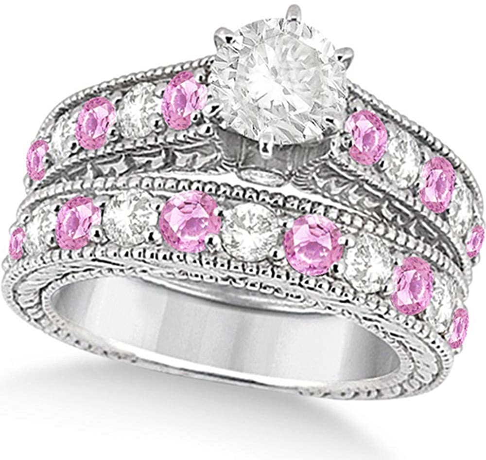 Women's Antique Diamond and Pink Sapphire Bridal Ring Set in Palladium (3.87ct)