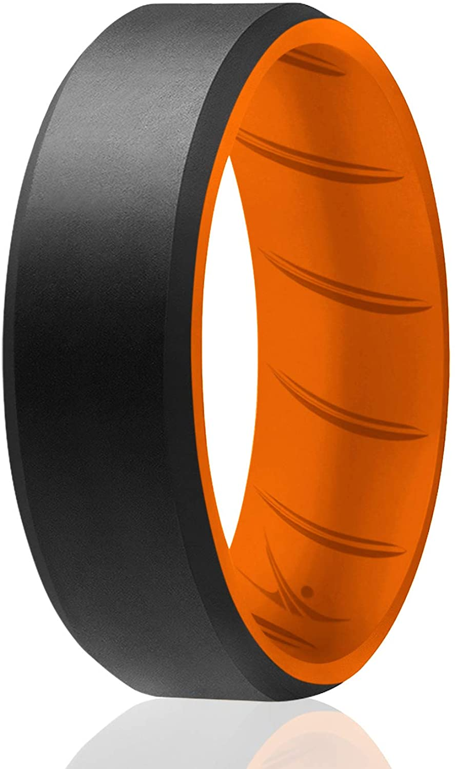 ROQ Silicone Wedding Rings for Men - Breathable Multipacks of 1/4/6 Mens Silicone Rubber Bands with Comfort Fit Airflow Design - 8mm Beveled