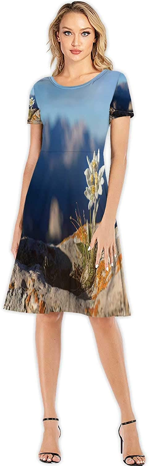 Edelweiss with Mountain in Alps Flower,Women's Casual Floral Printed Maxi Dress for Beach Mountain S