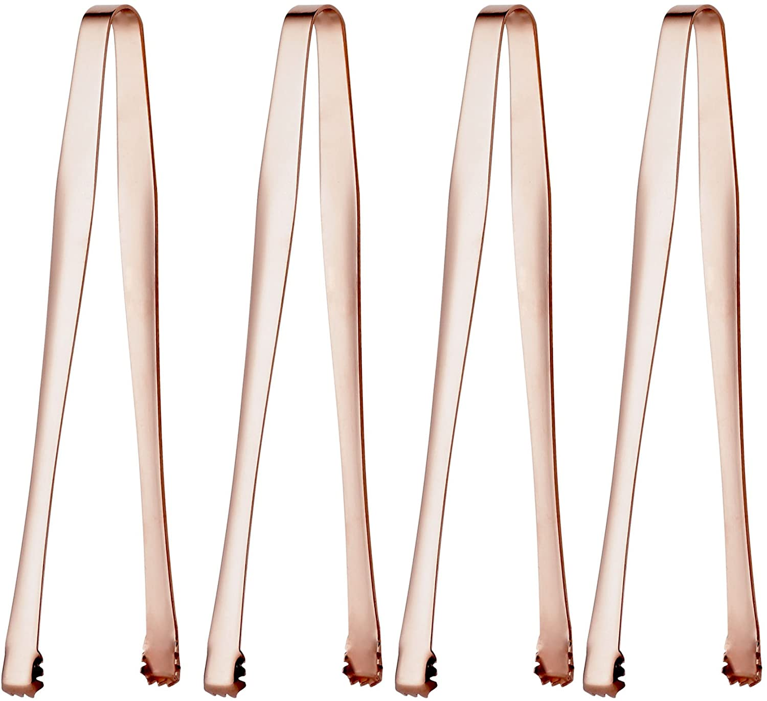 Sugar Tongs Rose Gold Set of 4 Stainless Steel Ice Tongs for Kitchen Tongues Food Folder and Ice Clip Tea Party Mini Palm Handle Wedding Cubic Sugar Nip 6-inch Mirror Polished by OMGard