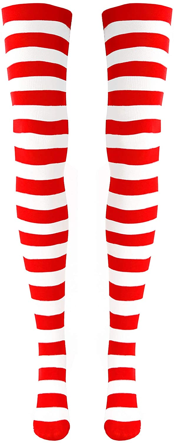 Skeleteen Red and White Socks - Over the Knee Striped Costume Accessories Red and White Stockings for Men, Women and Kids