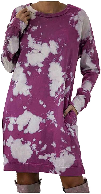 Ghazzi Women's Long Sleeve Dress Tie-Dye Pocket Oversized Crewneck Pullover Long Sleeve Tunic T Shirt Knee-Length Dress