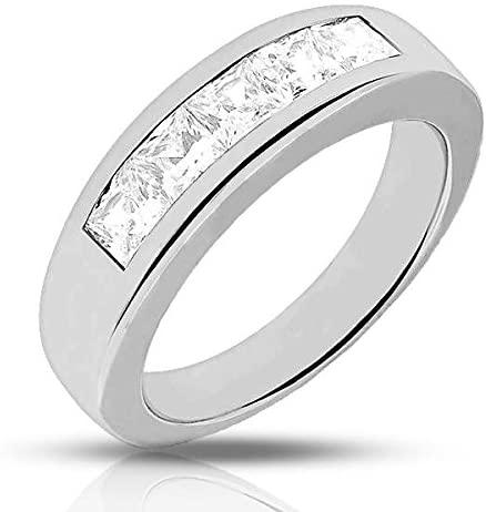 XO Jewelery 1.25 ct. Mens Princess Cut Diamond Wedding Band in Platinum