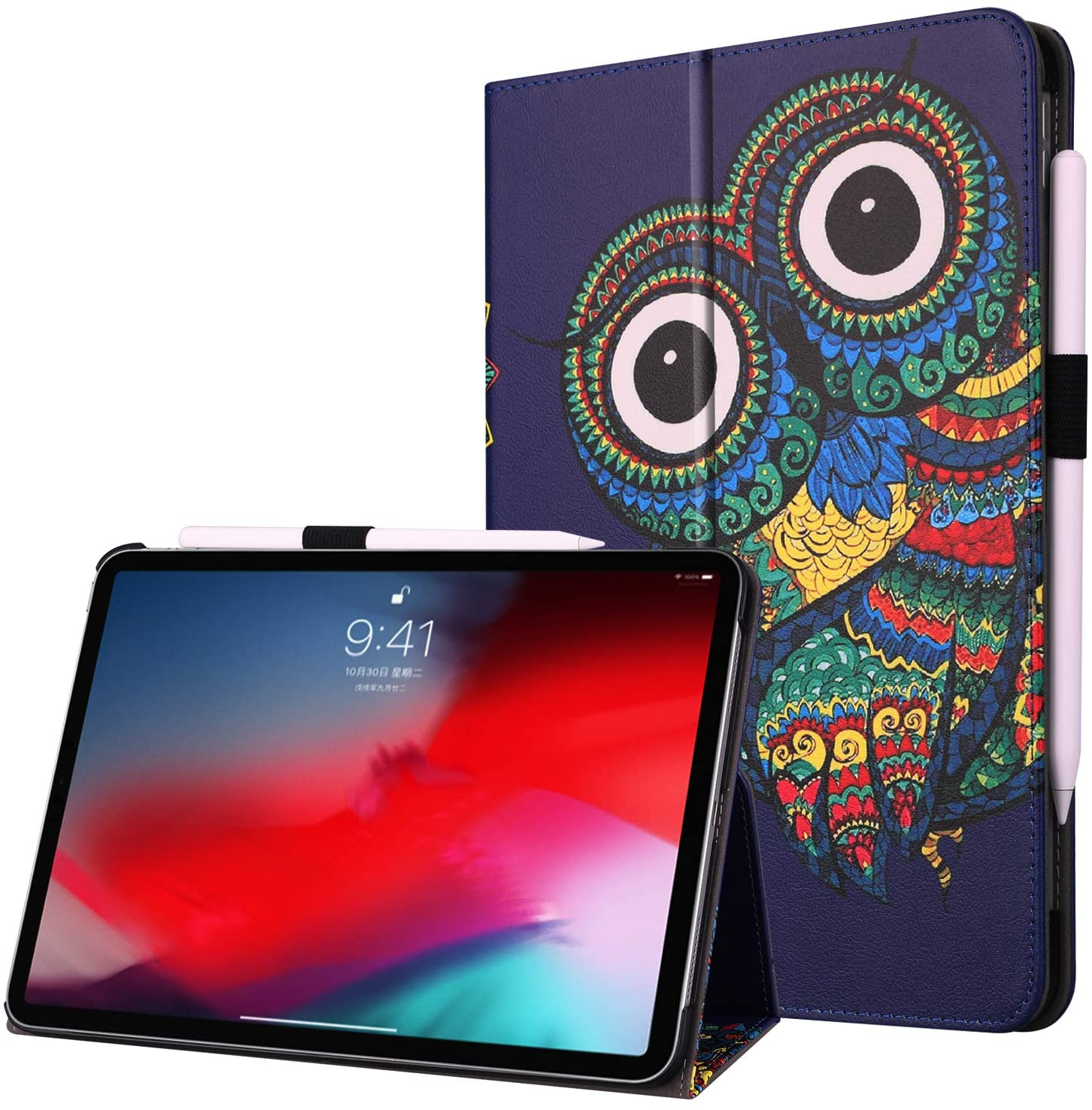 New iPad Pro 11 Inch 2018 Case with Pencil Holder, Gylint Lightweight Pu Leather Case Cover Stand with Auto Sleep/Wake, Protective for iPad Pro 11 2018 (Owl)