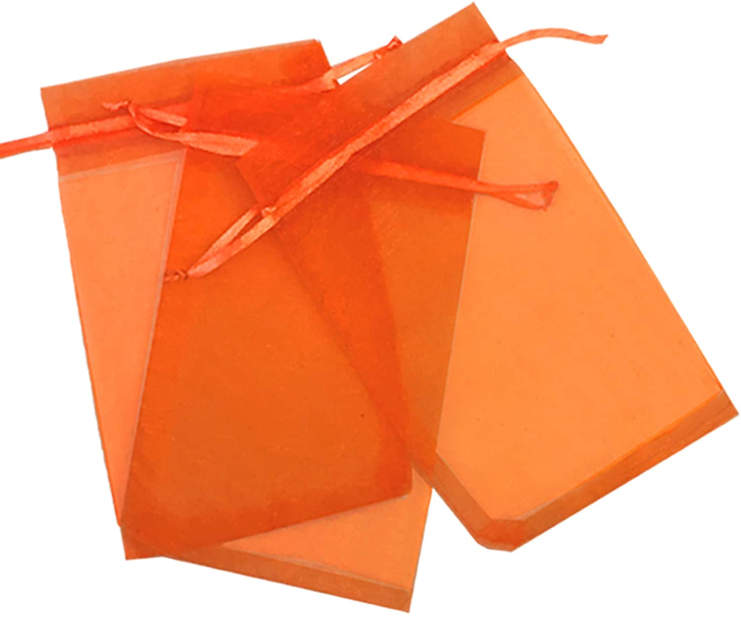 500 Pcs Orange 3x4 Sheer Drawstring Organza Bags Jewelry Pouches Wedding Party Favor Gift Bags Gift Bags Candy Bags [Kyezi Design and Craft]