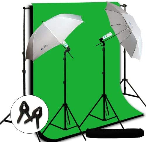 LimoStudio Photography Video Studio Umbrella Continuous Lighting Light Kit with Black, Chromakey Green 10 x 10 and Background Support Kit, AGG724