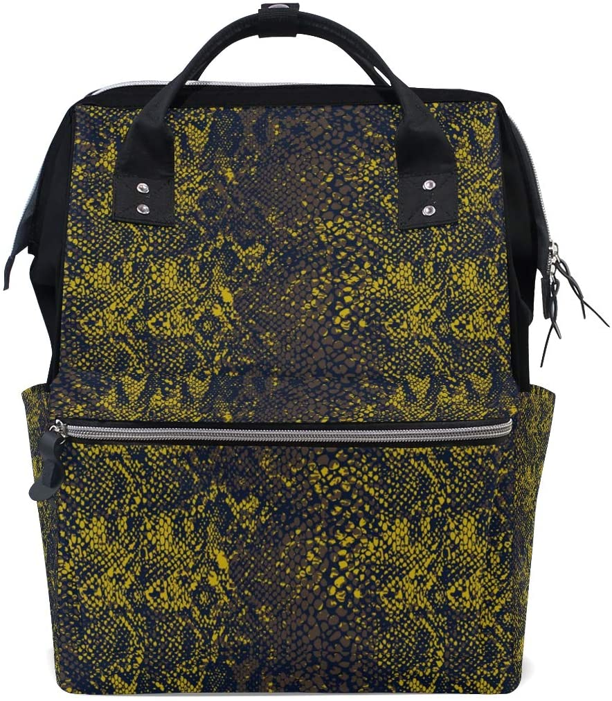 Snake Skin Women Casual Backpack Book Bag Lightweight School Travel Backpack Canvas 18L with Doctor Style